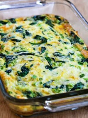 Spinach red pepper and cheese bake.